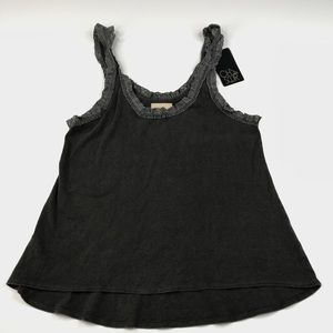 Chaser Brand Gray Tank Top Cami Lace Trim NWT